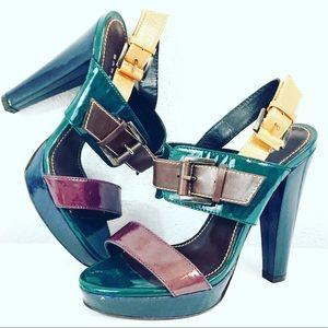Barbara BUI Tricolor Two Band Platforms Sandals 7